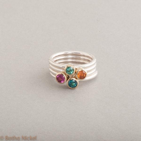Ringe aus Silber mit Mandarin Granat, Rubellit, Turmalin und indigolith, Botho Nickel Schmuck Hamburg, Juwelier und Goldschmiede