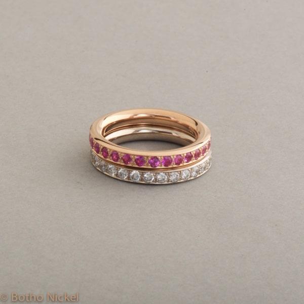 Ringe aus 18 Karat Weiss-und Roségold mit Brillanten und pinken Saphiren, Botho Nickel Schmuck Hamburg Juwelier und Goldschmiede