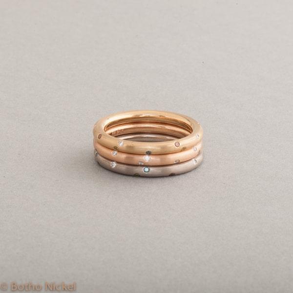 Ringe aus 18 Karat Gold mit Brillanten, Botho Nickel Schmuck Hamburg, Juwelier und Goldschmiede