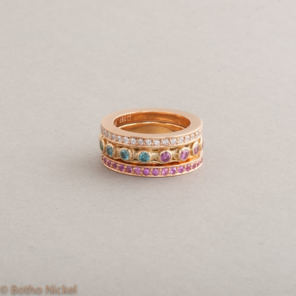 Ringe aus 18 Karat Rosé-und Gelbgold mit Brillanten, Botho Nickel Schmuck Hamburg, Juwelier und Goldschmiede
