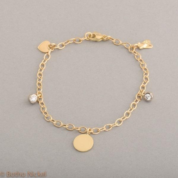 Armband aus 18 Karat Roségold mit Anhängern und Brillanten, Botho Nickel Schmuck Hamburg, Juwelier und Goldschmiede